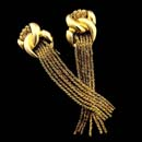 Yuri Ichihashi 18K yellow gold interlace flat-tassel earrings crescent interlocked links.