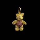 Adorable 18kt. gold baby bear with natural  pink sapphire eyes, belly, and paws. Available as shown 7/8'' and also a large 1 1/8'' piece is available. Made in the USA and solid!