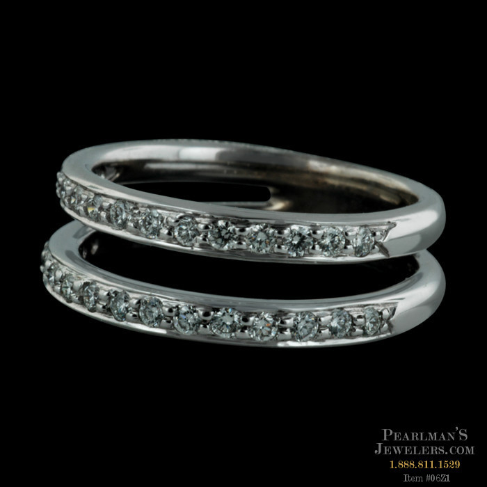 item 06z1 beautiful 18kt white gold double band wedding ring with 44ct total weight in diamonds designed by honora size 7 and 7mm width - Double Band Wedding Ring