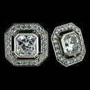 Button earrings from Durnell, with 1.42tw square Radiant Cut centerpieces.  More look than a diamond stud, but clean and contained in design.  A fantastic   earring worn as a square shape or on the diagonal.