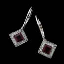 Platinum ruby and diamond earrings with pave diamonds on the bezel, by Chris Correia.