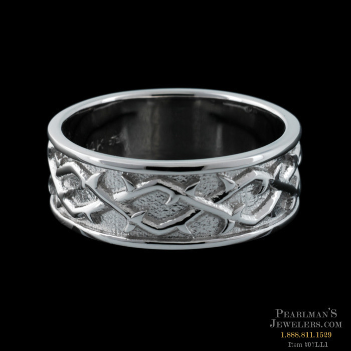 crown of thorns band is 14k wg and the pattern is beautifu