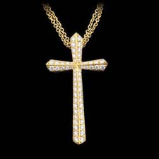 Honora's 18kt yellow gold and diamond pave cross necklace set with 1.06ctw in diamonds.