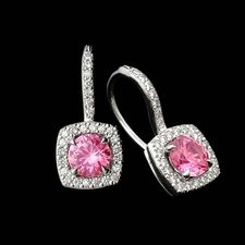 Beautiful and feminine cushion petite trois on diamond euro wire earrings, designed by Michael B.   Sparkling pave diamonds surround 1.09ctw pink sapphires.