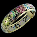 A gorgeous 18k gold art nouveau inspired bracelet bangle bracelet. The roses and leaf designs are enamel. The bracelet weighs 45.9 grams.