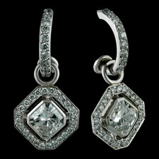 Durnell's Powerful Asscher drops (1.42tw Asscher) on SOLO set, every-occasion hoops.  Clean and contained in design.  Always a fresh and sophisticated statement.