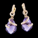18K gold Amethyst and diamond earrings from Bellarri. The Amethyst size is 9.50 and the total carat weight of the diamonds is 0.19.(Both earrings combined). The earrings measure 27mm x 10mm.