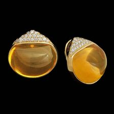 Gorgeous pair of yellowgold and pave Citrine Button Earrings from Michael Bondanza.