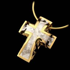 From Bondanza the large Sienna cross made from 22kt yellow gold and platinum with great flowing textures. Suspended from an 18kt gold 16