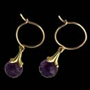 Paul Morelli's classic drop earring in 18kt gold. These are amethyst and are available in a variety of sizes and colors.