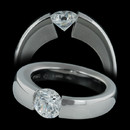 A perfect circle: This ladies platinum USH engagement tension set ring is specifically made for a 1.01 to 1.50 ct round center diamond. Prices vary with diamond sizes, and will accommodate from .75ct to 3.0ct.