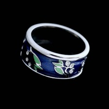 18kt white gold blue and green enamel ring with 18 diamonds .09cts.