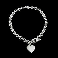 Dorfman Sterling Dorfman silver heart necklace with toggle