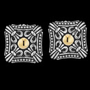 Mens Sterling Silver Square Engraved cuff links with 18K Yellow Gold Center.