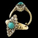 A very fine 14kt gold diamond and Persian Turquoise (5mm) ring. The ring is from the Victorian era circa 1880's. Set with 18 old European cut diamond weighing approx. 1/2ct total. Excellent condition. Measures 16mm north to south. You'll really like this piece. Size 5