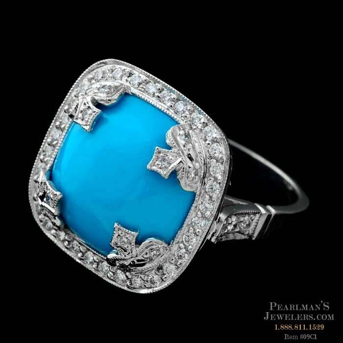 Cathy Carmendy Cathy Carmendy Persian Turquoise Amp Diamond Ring