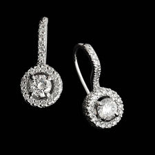 A wonderful pair of platinum Trois diamond earrings with Euro wire backs, designed by Michael B.  These can be made for any size center diamond.  The mountings are shown for 1/4ct rounds.  The mounting is set with 120 diamonds, .58ct total. Center diamond not included.
