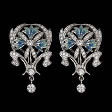 A wonderful set of 18kt white gold, enamel, and diamond earrings from the Nouveau Collection Artic Collection. 1.50ct approx diamond weight.