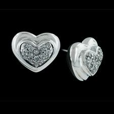 Ladies sterling silver diamond center stud heart earring by Scott Kay Sterling, .18ctw.