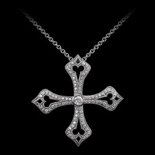 Carl Blackburn 18kt white gold diamond French Gothic Cross pendant