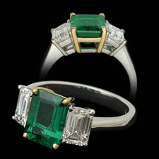 Pearlmans Collection Platinum emerald and diamond ring