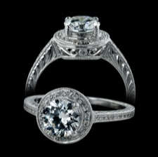 Beverley K 18k gold milgrained diamond halo engagement ring