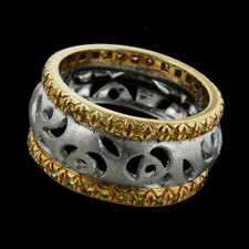 18kt yellow gold and platinum wedding ring by Gumuchian. This has a total diamond weight of .59ct.
