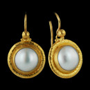 "Gurhan's vignette earrings in 24k gold with beautiful white mabe pearl drops. Hook backs. 12mm Mabe pearl stones. Width: 1 1/16"" Total height: 1 3/16"