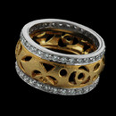 Item 102J1 - This is an exquisite platinum and 18kt yellow gold wedding ring by Gumuchian. It contains .58ctw of VVS F diamonds. The ring is 10 mm in width and a size 6