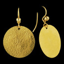 Hand hammered Flake 24k gold earrings, designed by Gurhan. Granulated hook backs. 3.5cm x 2.5cm length.
