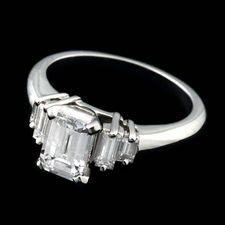 Clean and classic: Alexander Primak platinum and diamond engagement ring with .50ct total square-cut side diamonds. Center stone not included.