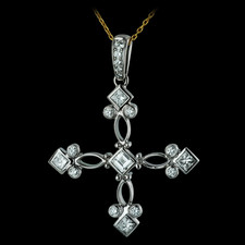 Byzantine style symmetrical pendant by Durnell.  Clean and contained in an ideal, mid-size design.  Box cut diamonds contrast with brilliant round diamonds, in fine and precisely fabricated metal work.