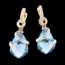 Bellarri 18Kt. gold blue topaz earrings