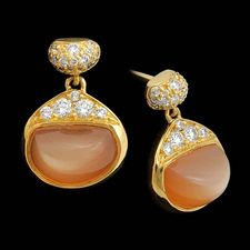 Michael Bondanza yellowgold pave Bean Drop peach earrings.  The stones are 3.27ctw and there is .32ctw of sparkling pave diamonds.