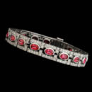 An exquisite platinum ''Deco'' bracelet, designed by Gumuchian, set with 11.30ct of Pink Sapphires and 3.87ct of diamonds.  7 inch length and 11mm width.