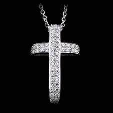 Honora 18kt white gold and diamond pave cross necklace set with .58ctw in diamonds.