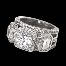 Alex Soldier Ladies three stone platinum diamond engagement ring.