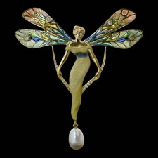 Carved from the world of magic, this 18kt yellow gold ''Lady Butterfly'' brooch/pendant from Nouveau Collection, with pave and bezel-set diamonds, is enhanced with a drop pearl.