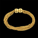 This beautiful 12 strand woven chain bracelet by Yuri Ichihashi is in 18kt yellow gold and has the double melon clasp.  This bracelet measures 7 inches in length.