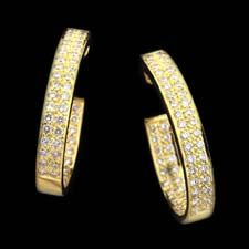 Closeout Jewelry yellow gold diamond hoop earrings