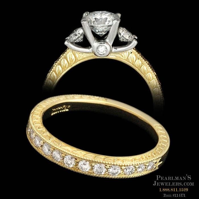 Scott Kay Platinum Engraved Five Diamond 0 30ctw Wedding: Scott Kay Jewelry 19k Gold & Platinum Engagement Ring