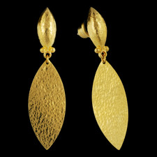 Willow Earrings. Medium leaf flake with hammered detail. 25x12. Half olive shank, designed by Gurhan.