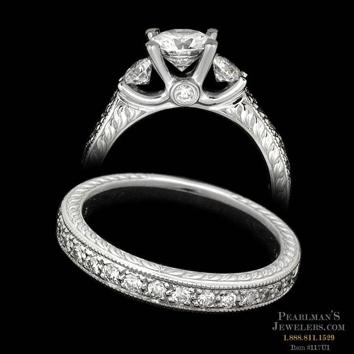 Scott Kay Platinum Engraved Five Diamond 0 30ctw Wedding: Scott Kay Jewelry Platinum Wedding Set