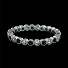 Beverley K 18kt white gold diamond and sapphire wedding band