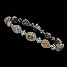 This beautiful handmade Michael Beaudry bracelet features fancy intense pastel diamonds. Call for price and availability.