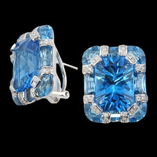 Bellarri 18K gold and blue topaz earrings