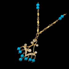 Cathy Carmendy Cathy Carmendy 20kt y.g. Turquoise & Diamod necklace