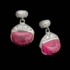 Michael Bondanza small Bean pink drop earrings. These earrings are platinum with .32ctw of pave diamonds and 4.32 carats of pink sapphires.