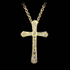 Honora 18kt yellow gold and diamond cross pendant set with .28ctw in stones.