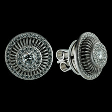 Beautiful pair of platinum Michael B Balarina round earrings.  The center bezel set diamonds are .24ctw and are surrounded by pave.  The outer circle is also covered in full cut diamonds.